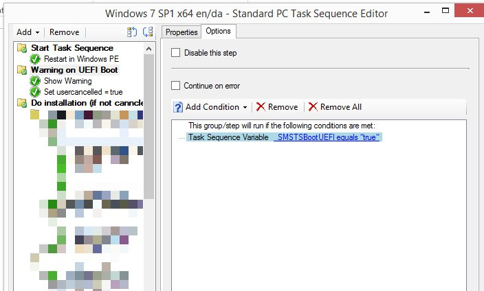Cancel SCCM Task sequence started using UEFI boot // Kenneth